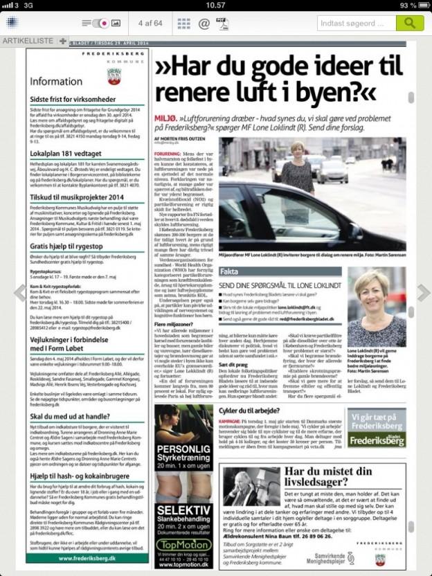 I sidste uge spurgte jeg Frederiksberg Bladets læsere om de havde gode ideer til renere luft i byen?
